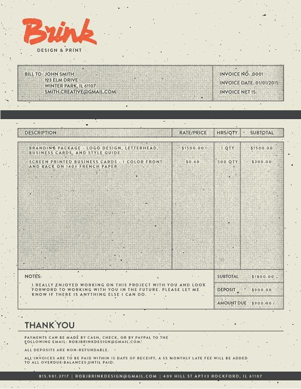 Invoice Design 50 Examples To Inspire You Brand identity - invoice designs