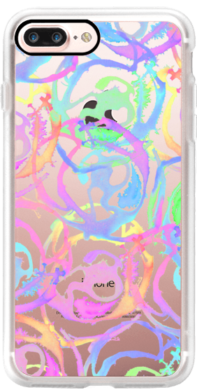 Casetify iPhone 7 Plus Case and other Neon iPhone Covers - Bright Colorful Watercolor Painted Swirls by BlackStrawberry | Casetify