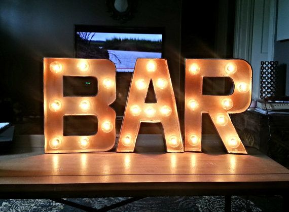 Plug in BAR Light-up Marquee Sign via Etsy