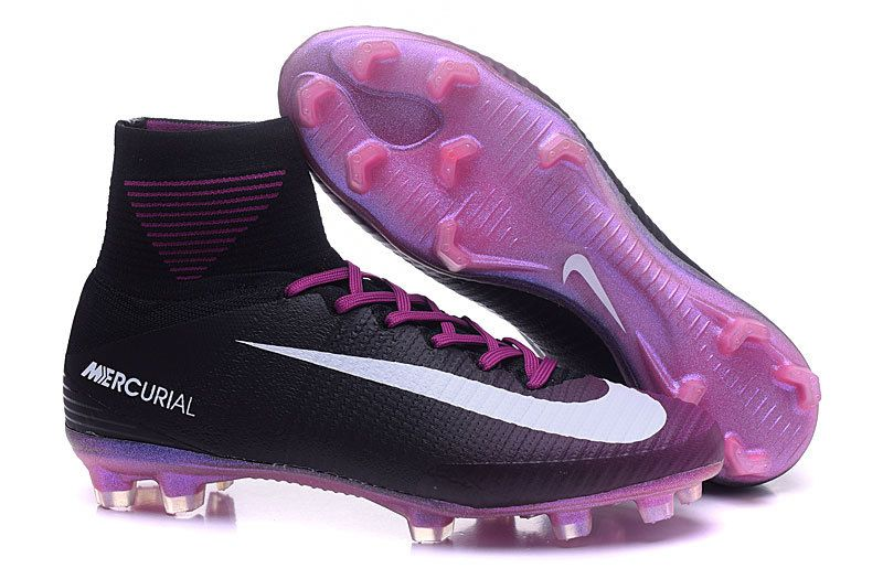Nike Mercurial Superfly V FG Black Pink Men Flyknit Soccer Shoes