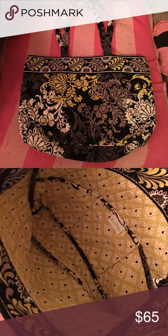 NWOT Vera Bradley purse VB black with grey & yellow floral print 17X10 strap drop is 11. Top snaps closed Vera Bradley Bags Shoulder Bags