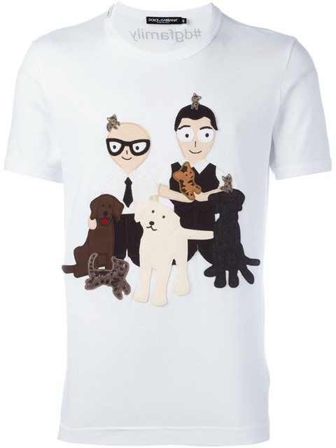 85c0881deb9e80 DOLCE & GABBANA Dog Lovers Patch T-Shirt. #dolcegabbana #cloth #t-shirt