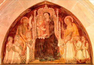 Queen Joanna of Naples kneels to our left.  14thcentury.  Nicolò Di Tommaso, c. 1371, Fresco, Certosa di San Giacomo, Capri (photo by Luciano Pedicini)