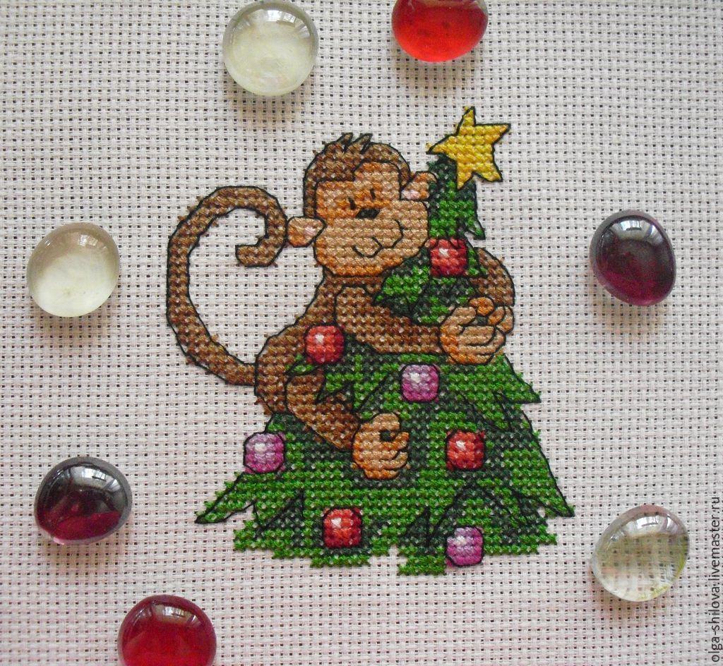 Вышивка обезьяны крестиком