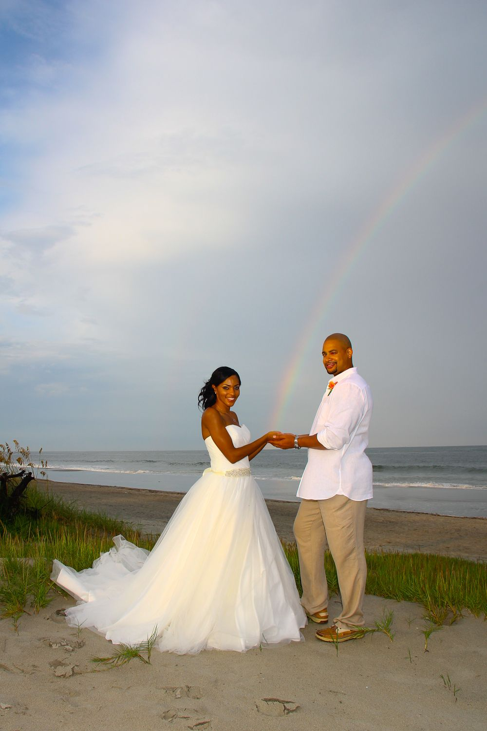 Tybee Island Beach Wedding Bride And Groom With Rainbow