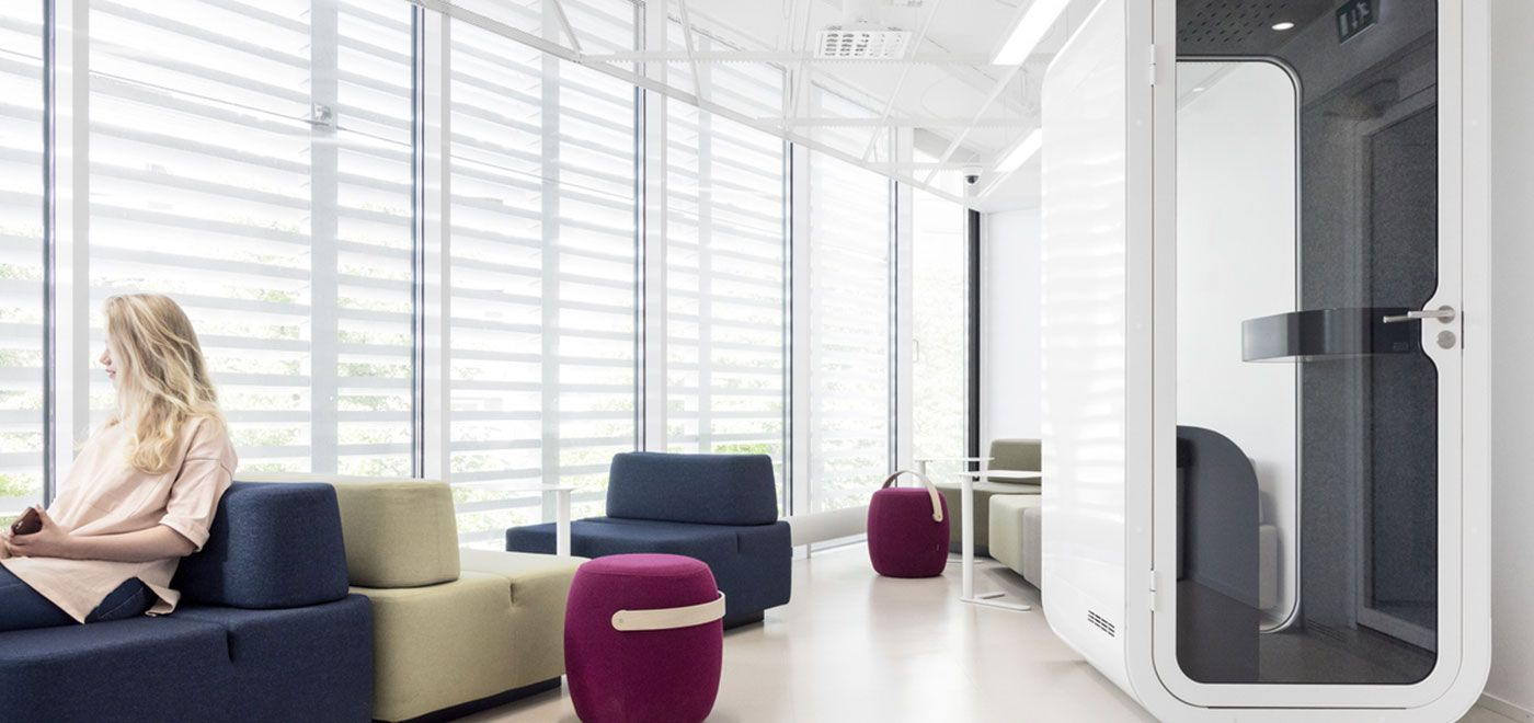 smart office interiors. A Phone Booth Offers Privacy To Make Calls Free Of Interruptions In An Open Plan Or Activity Based Office Environment. Smart Interiors