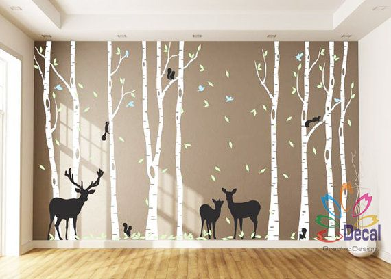 Removable Nursery Birch Tree Forest with Birds and Deer fawn doe buck and squirrels 9 trees DC0128