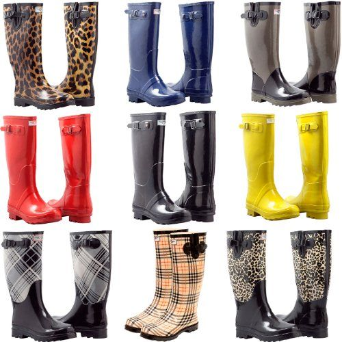 Women's Rain Boots Flat Mid Calf Rubber Rain & Snow Wellies Boots ...