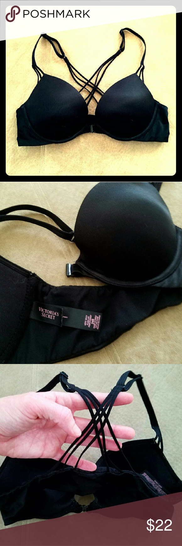 Victoria's Secret Very Sexy Black Strappy Bra Super sexy but extremely functional VS bra.  Front Clasp, plunge push up, strappy (3 straps) cross back, solid black bra.  Part of the Very Sexy line. Size 34b.  Only worn 3-4 times. Enjoy! Victoria's Secret Intimates & Sleepwear Bras