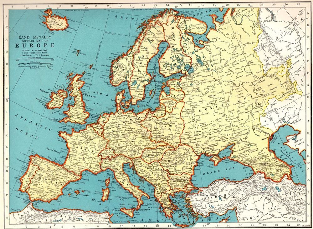 Vintage EUROPE Map 1940s Collectible Map of Europe Gallery Wall