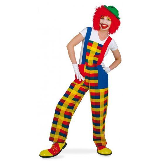 Clown verkleedkostuum tuinbroek  Gekleurde clown Pebbi tuinbroek met twee zakken aan de voorzijde. De tuinbroek is gemaakt van 100% polyester. Accessoires niet inbegrepen.  EUR 39.95  Meer informatie