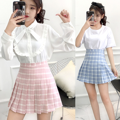 Blue/Pink Lattice Tall Waist Pleated Skirt from Fashion Kawaii [Japan & Korea]
