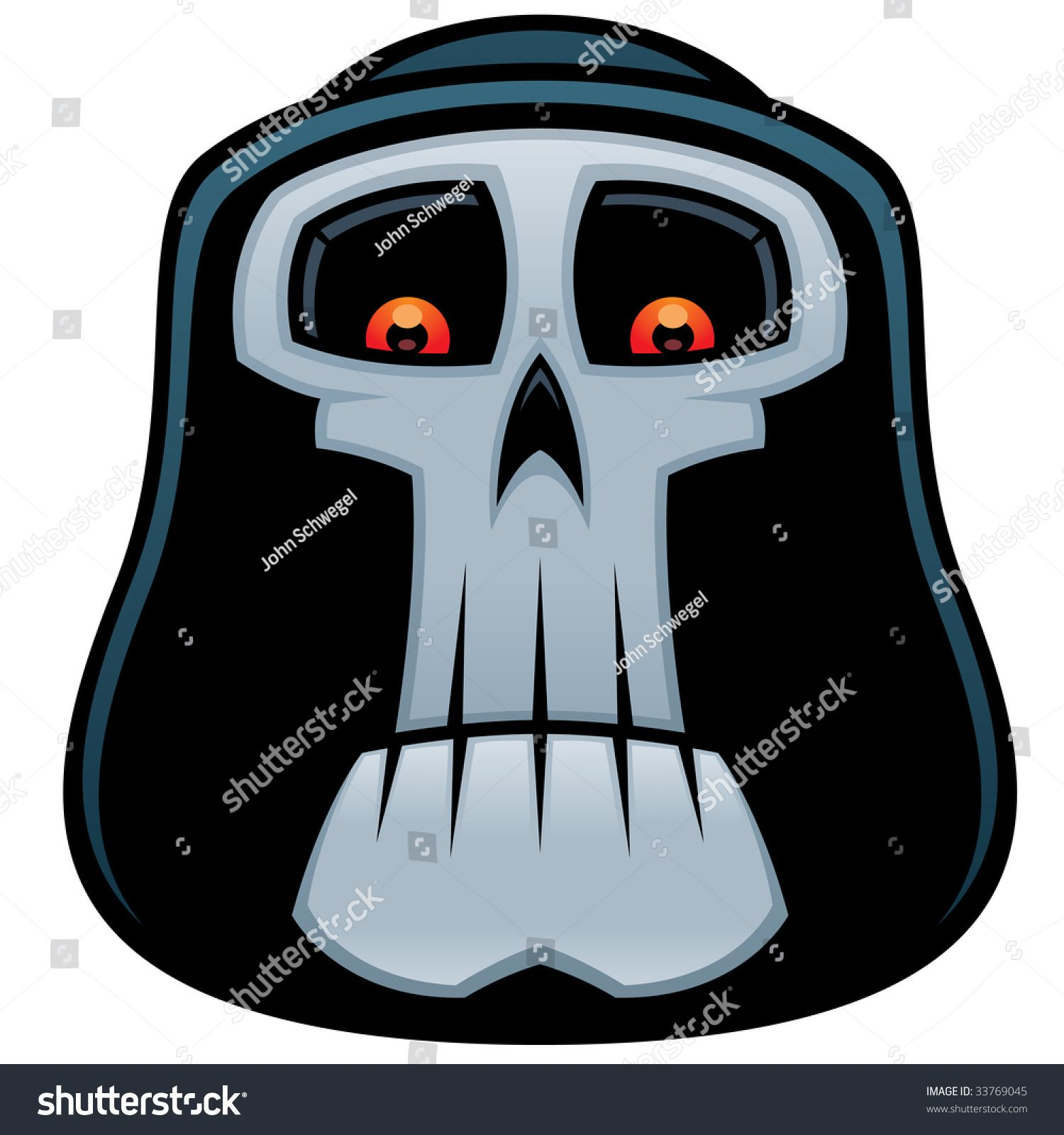 Vector cartoon illustration of the Grim Reaper. Angel of Death skull with red eyes and hood. #Ad , #ad, #Grim#Reaper#illustration#Vector