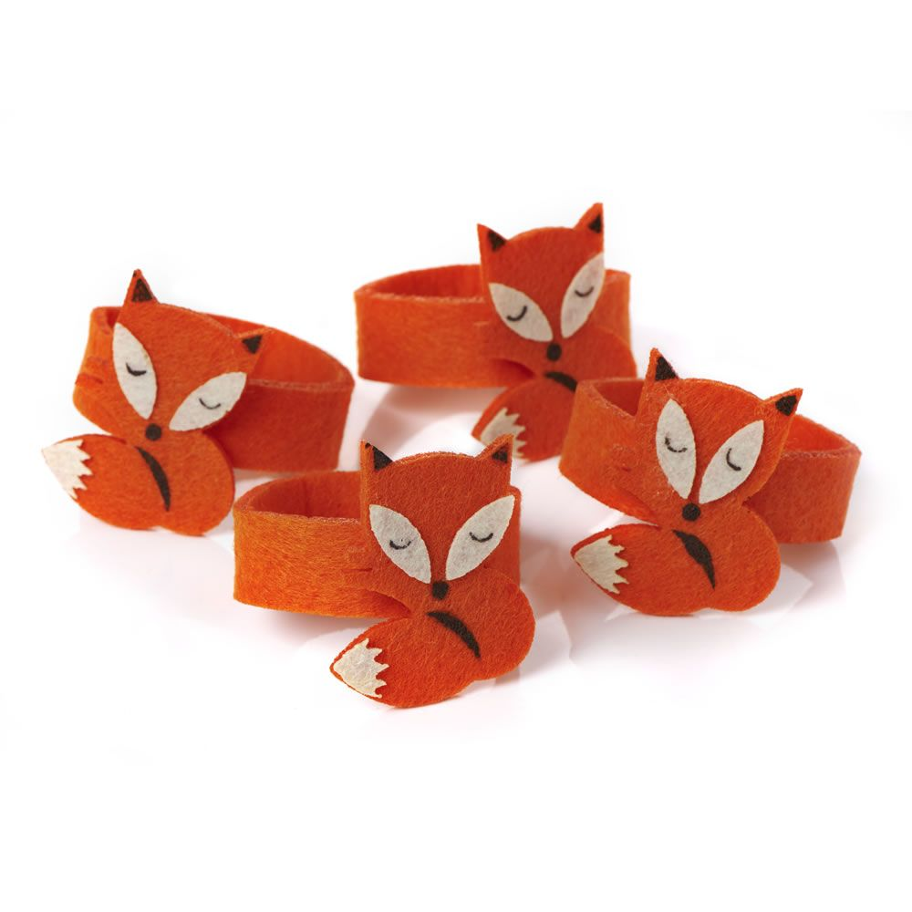 Wilko Animal Pillow : Wilko CHristmas Forest Friends Fox Napkin Rings Felt, two quid!! I mean honestly, rude not to ...