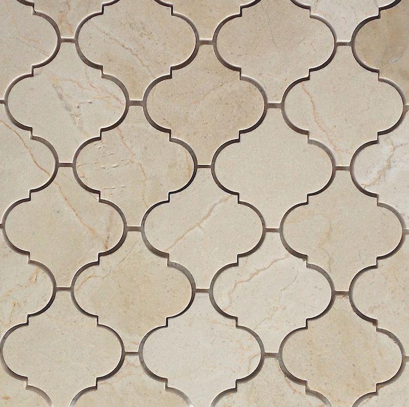 Crema Marfil Polished Arabesque Baroque Marble Mosaic Kitchen Tiles Backsplash Arabesque Arabesque Tile