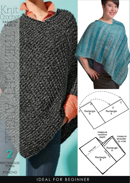 Knitting Poncho Easy : Super easy rectangles form a poncho free patterns