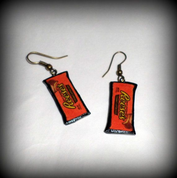 1815d56ae90 Reese s Peanut Butter Cup Candy Earrings Handmade Polymer Clay in ...