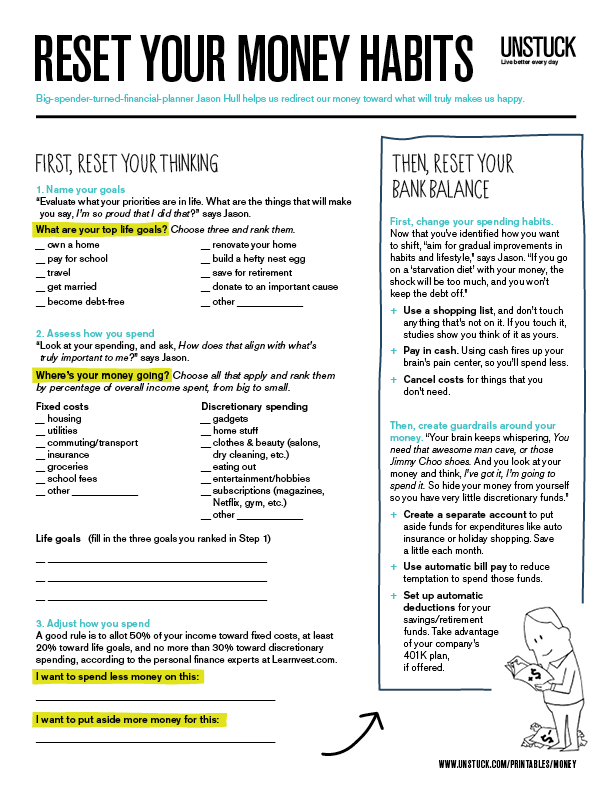 A simple worksheet to help you prioritize whats important to you – Personal Finance Worksheet