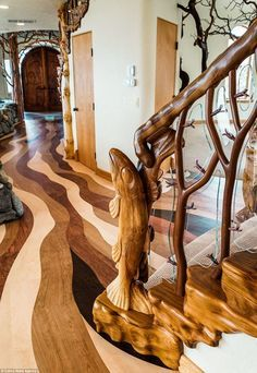 Whimsical Property Sits By An Oregon Mountain Range And Features Impressive Interior Tree Sculptures Rustic Home Design Rustic House Interior Design Rustic