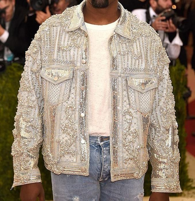 Balmain Custom Embellished Denim Jacket as seen on Kanye West