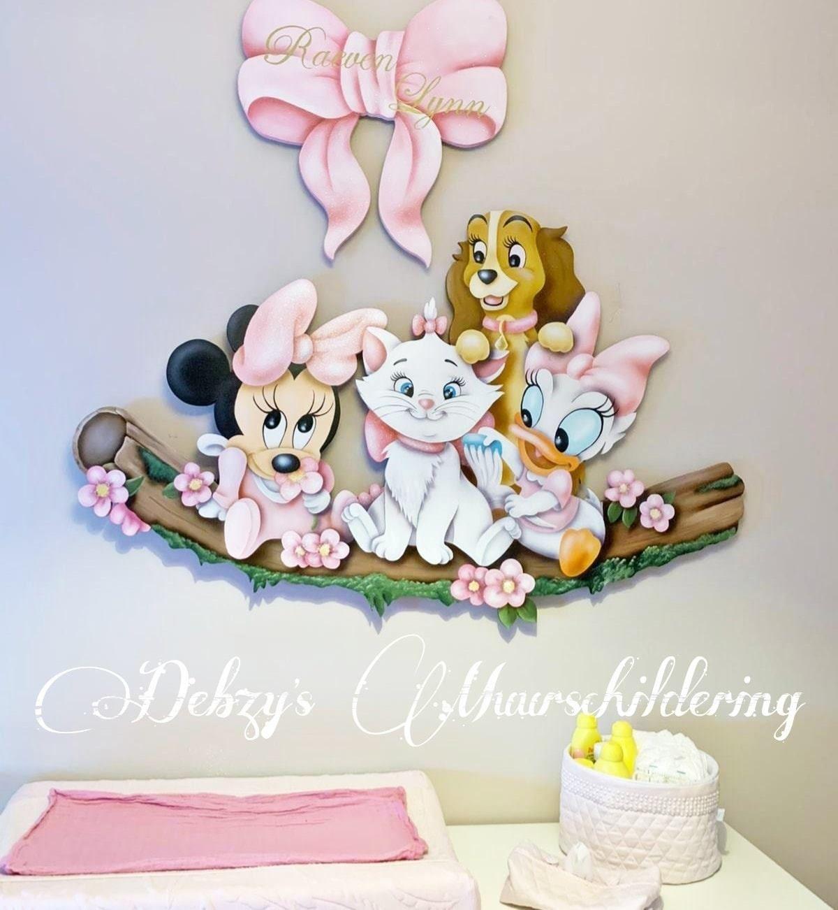 Baby Minnie En Katrien Marie En Lady Paneel Babykamer Decoratie Babykamer Muurschildering Baby Meisje Kamer