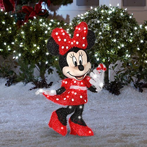 This Lighted Outdoor Yard Decoration Features Minnie Mouse In A