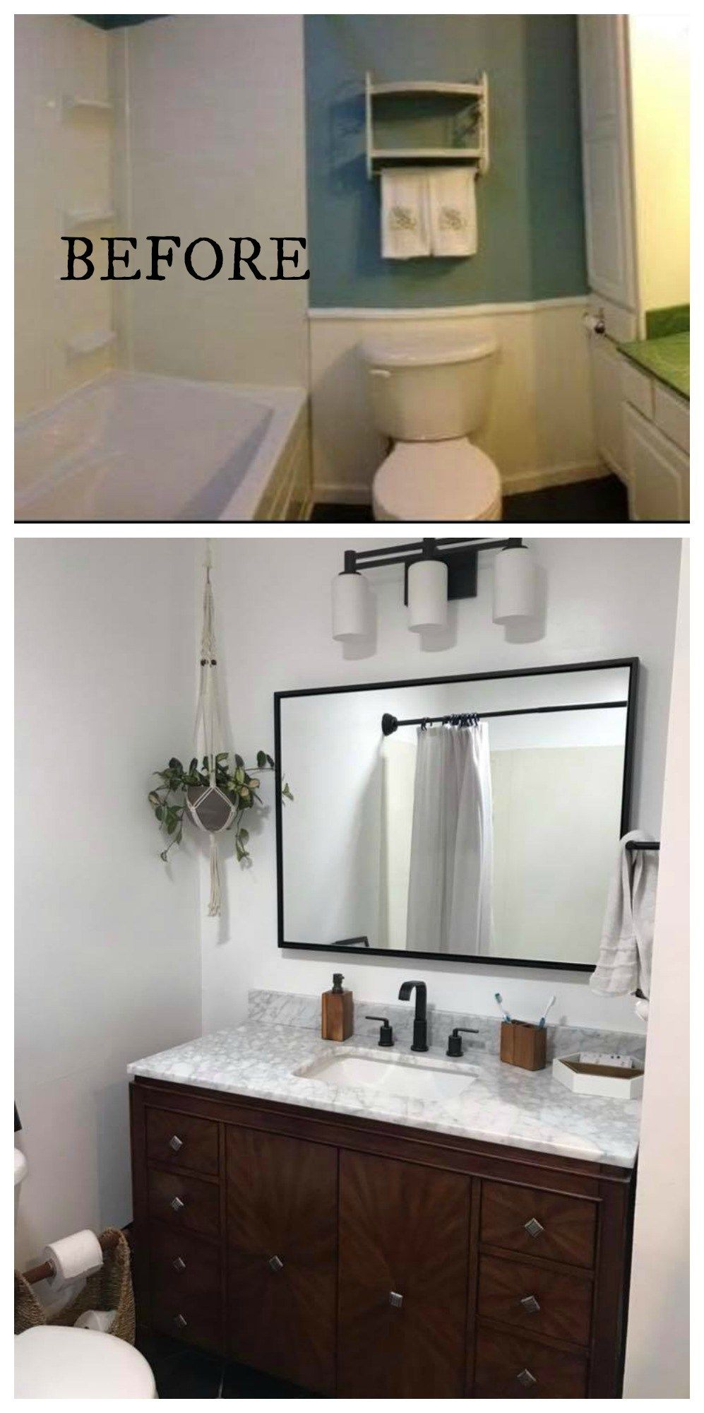 20 Bathroom Makeovers Before And Afters Nesting With Grace Bathroom Lighting Diy Bathroom Mirror With Shelf Small Bathroom Renovations