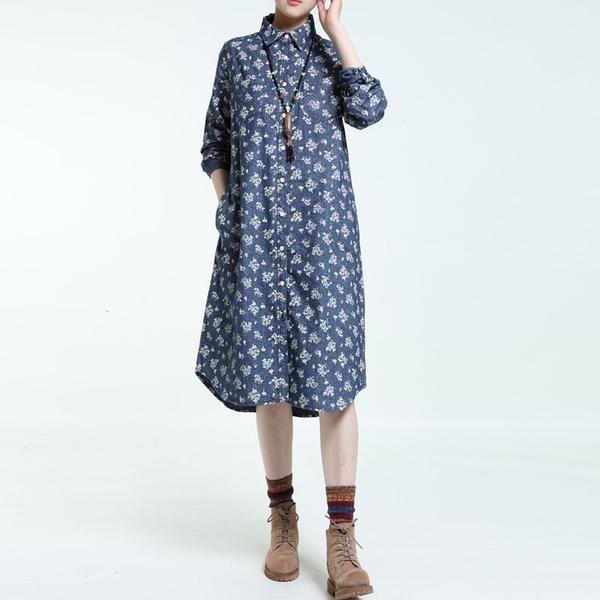 Spring Printing Blue Long Sleeves Dress  a4abbe3b323