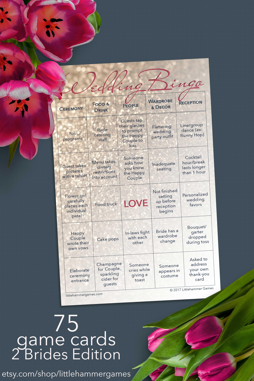 reception game guests love wedding bingo 2 brides edition
