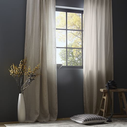 Belgian Flax Linen Curtain Natural French Country Living Room