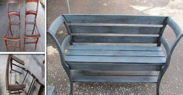 DIY Bench From Old Chairs