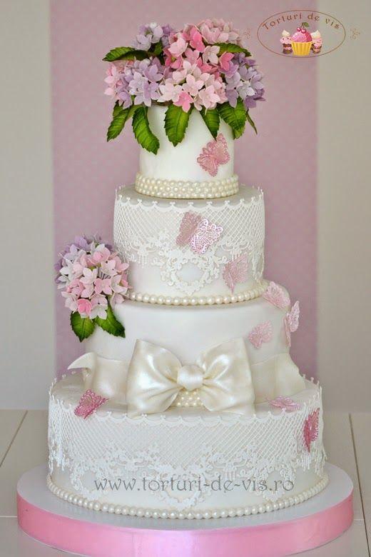 Torturi Vioricas Cakes Tort Nunta Dantela Si Hortensii Wedding