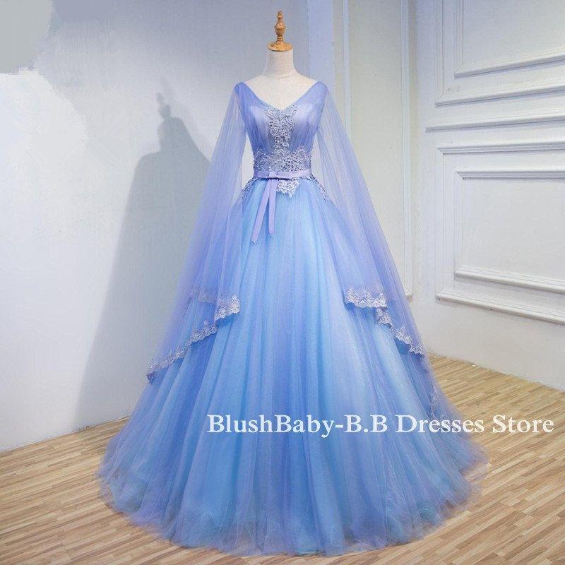 Long Prom Dress 2017 Wide Sleeve Ball Gown Hand Par
