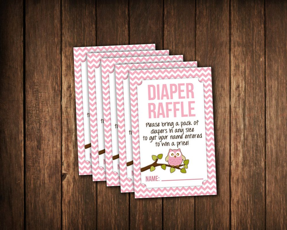 Owl Baby Shower Diaper Raffle Tickets   JPG Printable File   Pink Chevron    Matching Invites Available