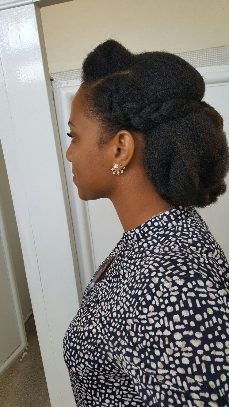 Cornrow And Pinup On 4c Natural Hair Medium Length Hair Styles 4c Natural Hair Natural Hair Updo