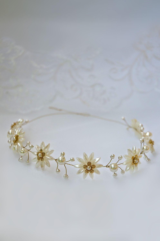 Wedding accessories pearls flowers pearls - Pearl Tiaras Bridal Accessories Hair Bands Hair Pearls Headband Hair Flower