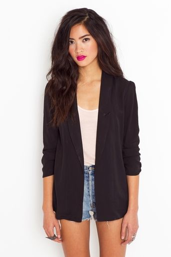 classic black blazer with sheer back that can be paired with almost everything