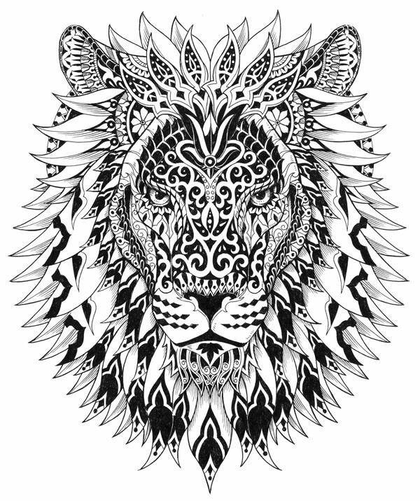 Big Cat Mandala Producao De Arte Leao Maori Livros De Colorir Para Adultos