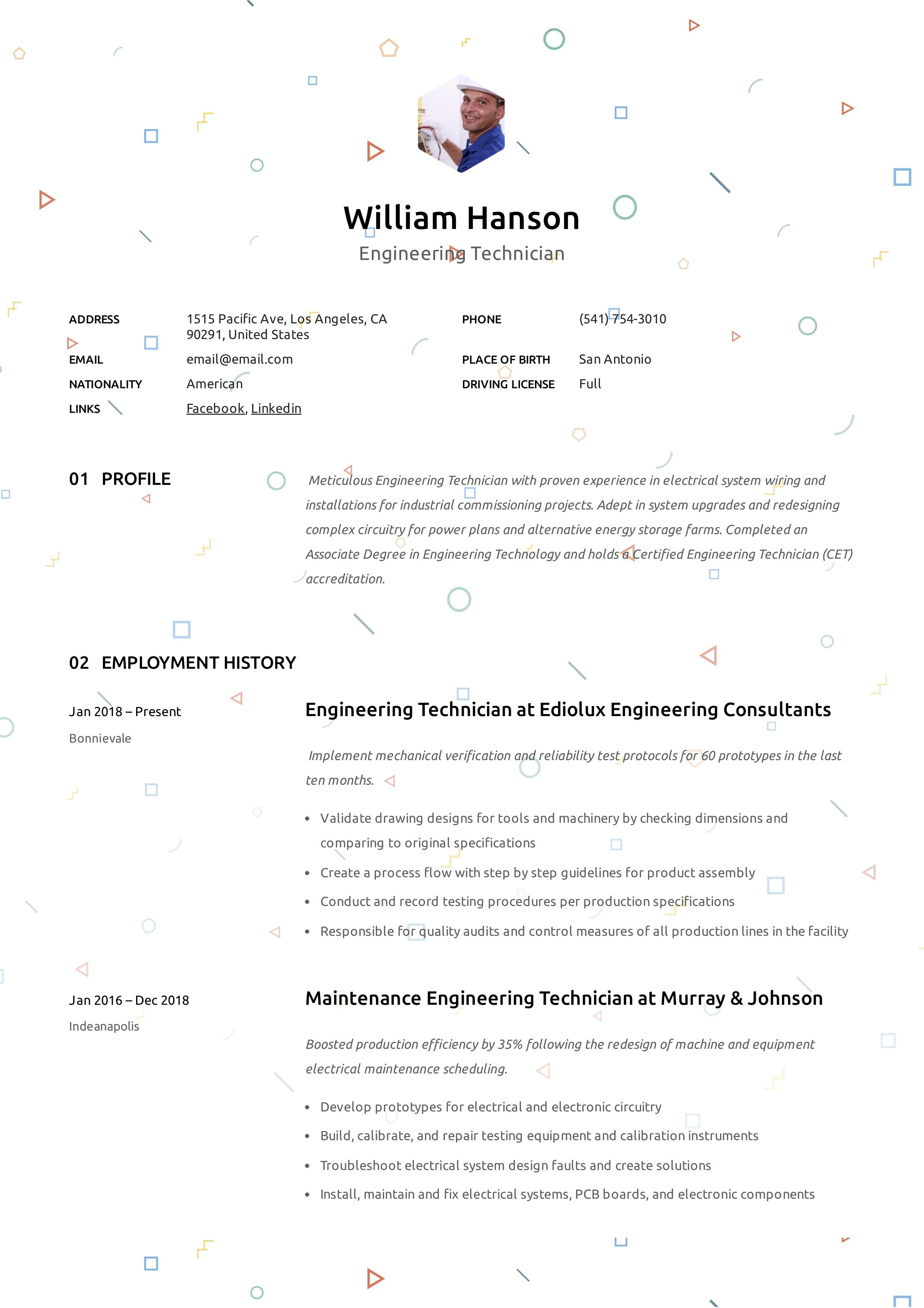 Engineering Technician Resume Sample Guided Writing Technician Resume Guide