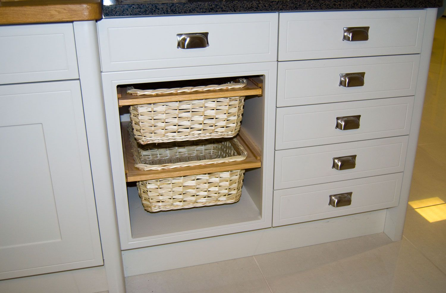 A Wicker Basket Pull Out Unit Example Timeless Kitchen Diy Kitchen Cabinets New Kitchen