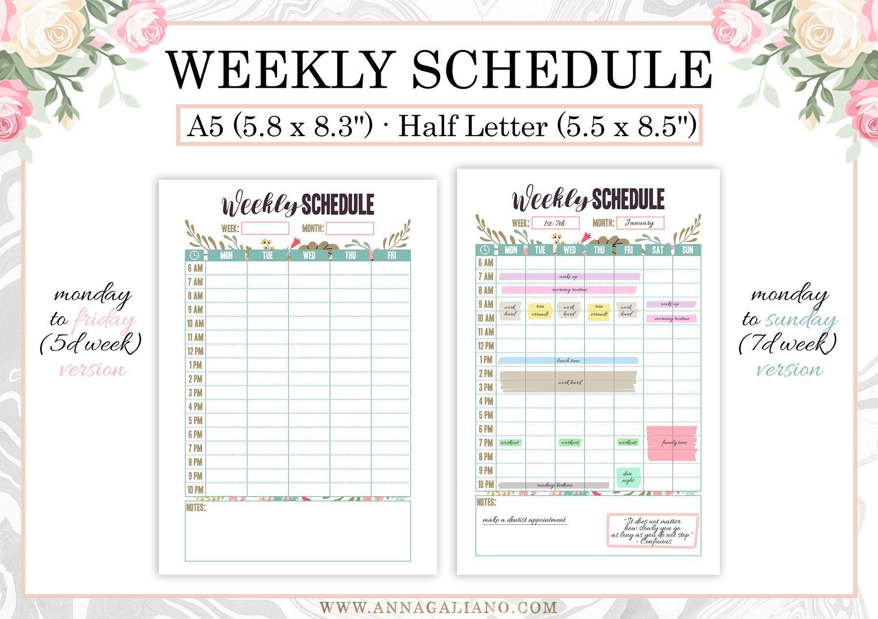 Hourly Planner Printable Weekly Schedule Printable
