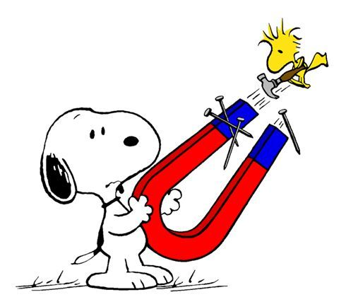 Clip Art: Magnets, science with Snoopy & Woodstock