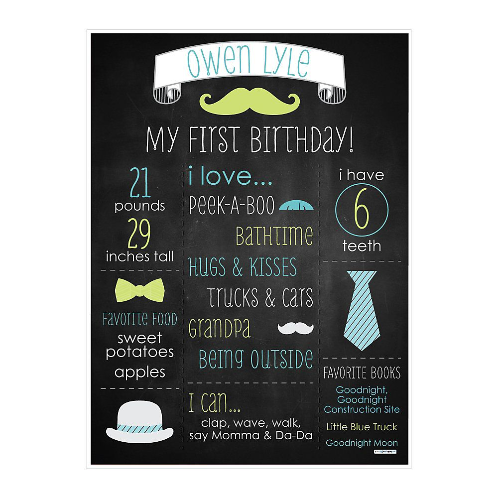 Dashing Little Man Mustache Party - Personalized First Birthday Chalkboard Poster | BigDotOfHappiness.com