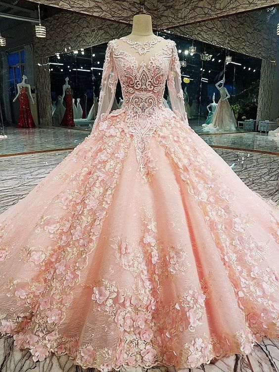 Long Sleeve Appliques Tulle Quinceanera Dresses With Flower, Elegant Beaded Ball Gown Prom Dresses, Formal Evening Dress,P2857 #tulleballgown