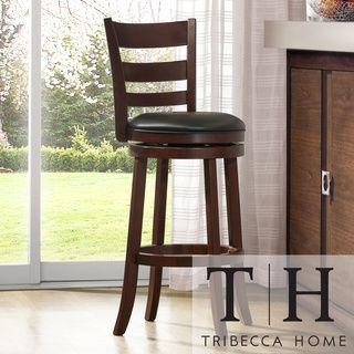 Tribecca Home Verona Espresso Ladder Back Swivel 29 Inch Barstool