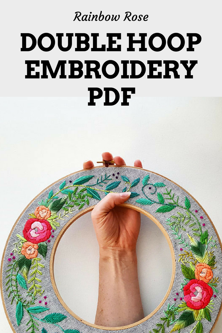 Stitch your own gorgeous rainbow rose wreath with this unique double