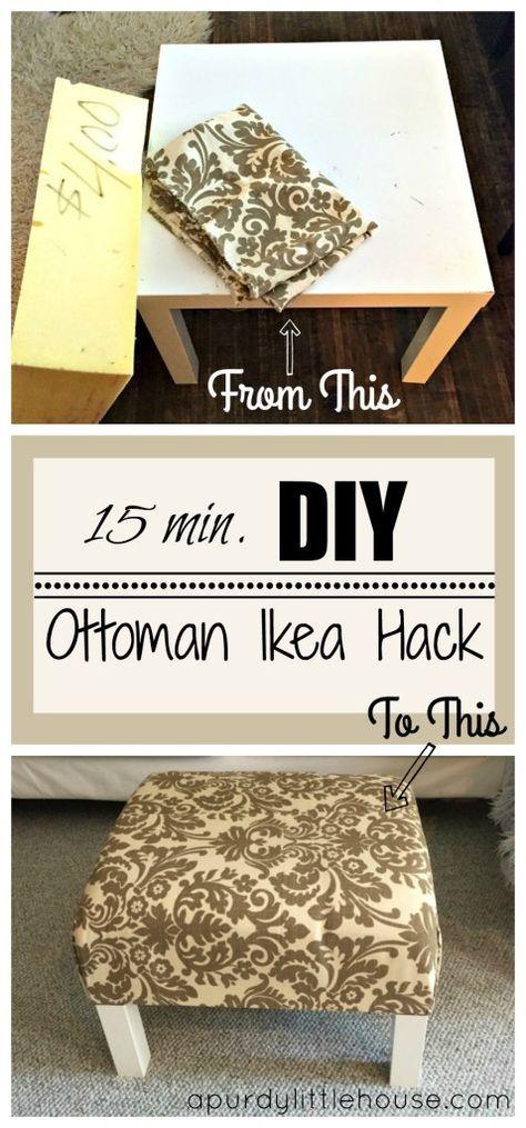 DIY Ottoman/Coffee Table – Ikea Hack (a purdy little house)   Buenas ...