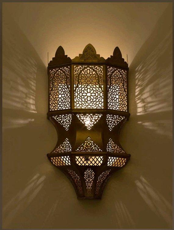 Wall Light Brass Antique Lamp Copper  Antique Brass Sconce Moroccan handmade