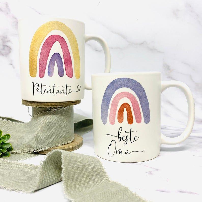 Becher Tasse personalisiert mit Namen und Regenbogen - freie Farbauswahl