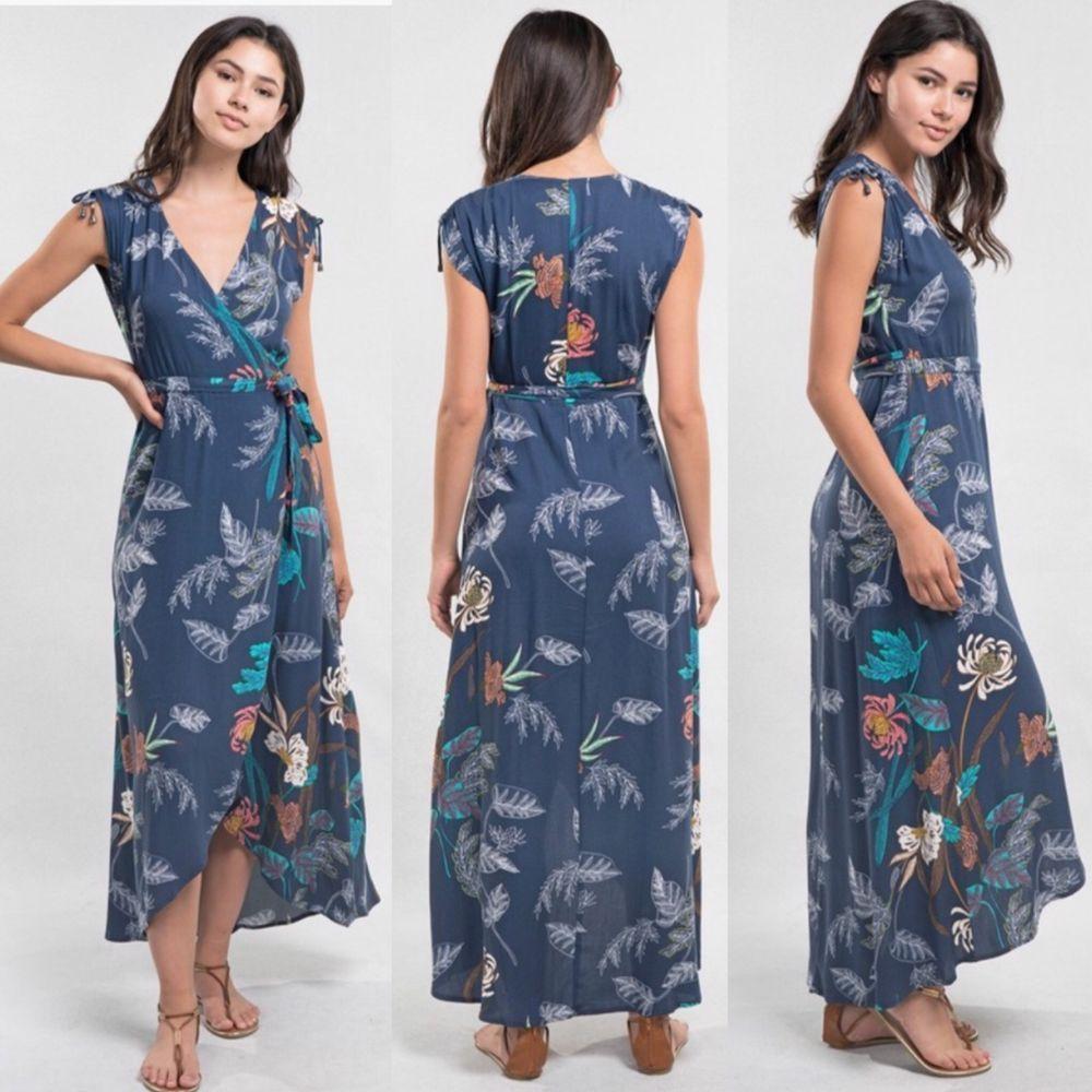 49f99170a086 Love Stitch Bohemian Navy Tropical Print Wrap Maxi Dress #LoveStitch # MaxiDress #summermaxi #summerlooks #maxi #summer #Clothing